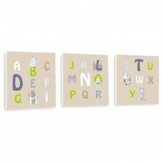 Tableau trio taupe Alphabet (20 x 20 cm)