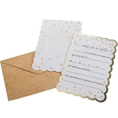 Lot de 8 cartes d'invitation Pois dorés  par Arty Fêtes Factory