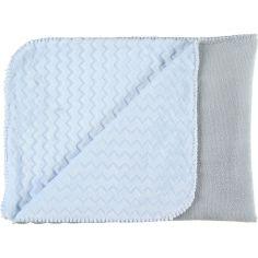 Couverture bicolore Groloudoux Mix & Match bleu clair et grise (75 x 100 cm)