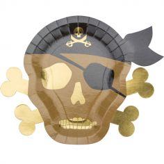 Lot de 8 assiettes en carton Pirate