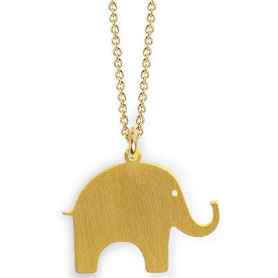 Collier chaîne 40 cm pendentif Nature éléphant 20 mm (vermeil doré)  par Coquine