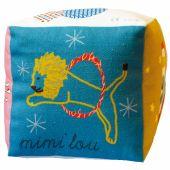 Cube tissu grelot cirque (12 x 12 cm) - Mimi'lou