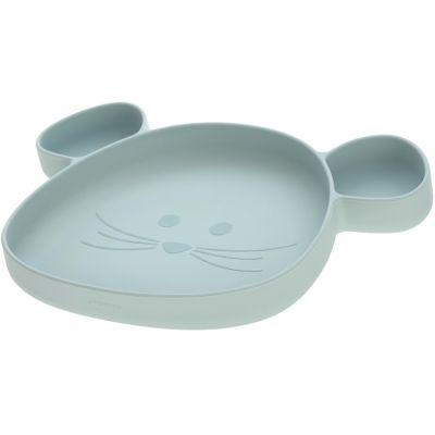 Assiette à compartiments en silicone souris vert d'eau Little Chums  par Lässig
