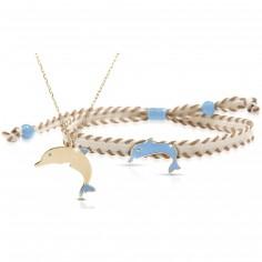 Duo maman enfant Primegioie collier et bracelet Dauphin (or jaune 375°)