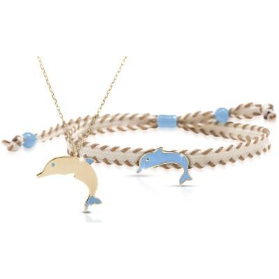 Duo maman enfant Primegioie collier et bracelet Dauphin (or jaune 375°)  par leBebé