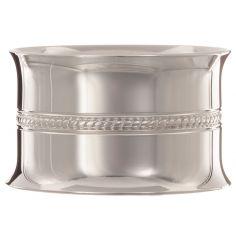 Rond de serviette Perles tressées personnalisable (métal argenté) dans son coffret