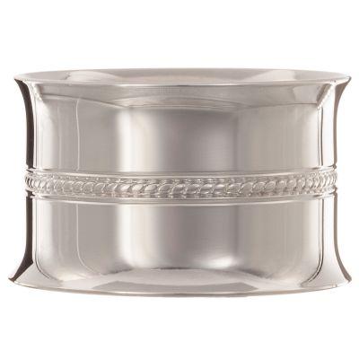 Rond de serviette Perles tressées personnalisable (métal argenté) dans son coffret  par Daniel Crégut