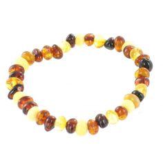 Bracelet en ambre bébé perles multicolores (13 cm)