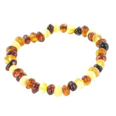 Bracelet en ambre bébé perles multicolores (13 cm)  par Balticambre