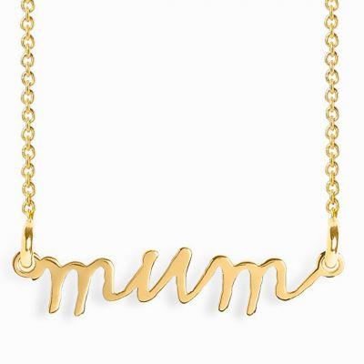 Collier chaîne 40 cm pendentif Mum Handwritten 35 mm (vermeil doré)  par Coquine