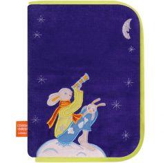 Protège carnet de santé Lapins lune bleu
