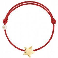 Bracelet cordon Etoile et perle rouge (or jaune 750°)