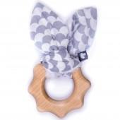 Anneau de dentition en bois Ecailles gris et blanc - BB & Co