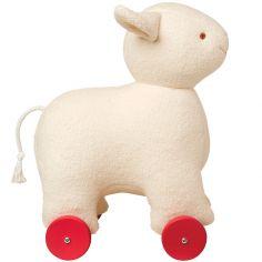 Mouton à roulettes écru (32 cm)