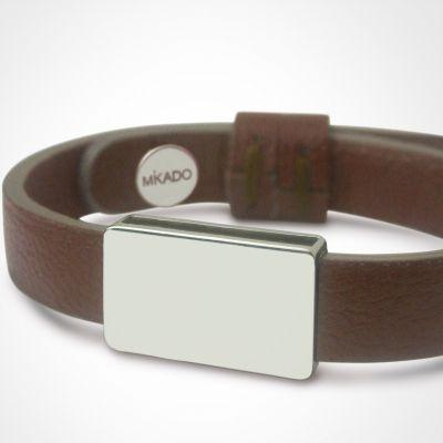 Bracelet cuir Hip-Hop Chocolat (or blanc 750° et cuir)  par Mikado
