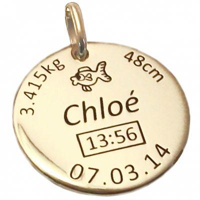 Médaille de naissance personnalisable (plaqué or jaune)  par Alomi