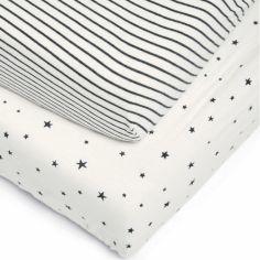 Lot de 2 draps housses de berceau Starry skies (50 x 90 cm)