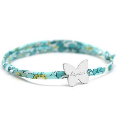 Bracelet cordon liberty Papillon avec fermoir personnalisable (argent 925°)  par Petits trésors