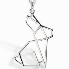 Collier chaîne 40 cm pendentif Origami lapin 20 mm (argent 925°)