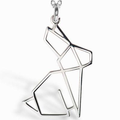 Collier chaîne 40 cm pendentif Origami lapin 20 mm (argent 925°)  par Coquine