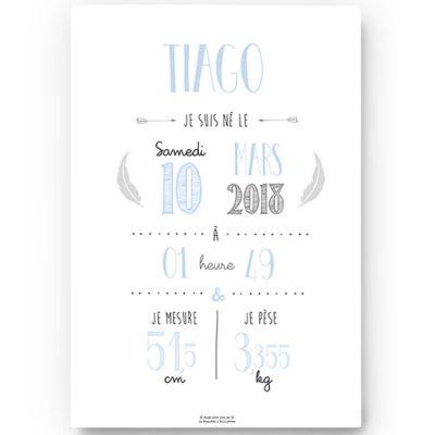 Affiche de naissance A4 bleu ciel (personnalisable)  par La Poupette à paillettes