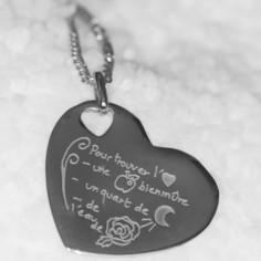 Pendentif empreinte coeur trou coeur avec bélière (argent 925°)