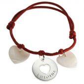 Bracelet cordon Accroche coeur (argent 925° et nacre)  - Petits trésors