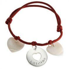 Bracelet cordon Accroche coeur (argent 925° et nacre)