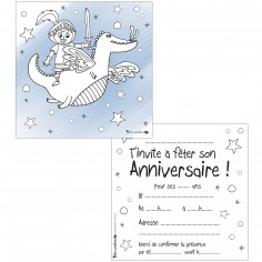 Lot de 10 cartes d'invitations à colorier chevalier dragon
