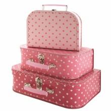 Set de 3 valises carton rose à pois  par Petit Jour Paris