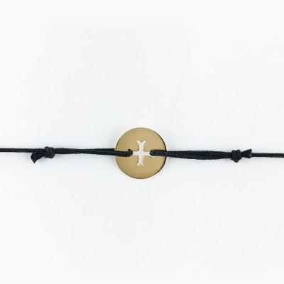 Bracelet cordon bébé médaille Mini Croix Byzantine 10 mm (or jaune 750°) Maison La Couronne