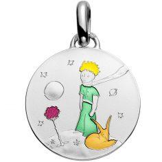 Médaille Le Petit Prince sur sa planète colorisée (argent 950°)
