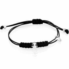 Bracelet cordon noir Briciole fille (or blanc 750° et diamant)