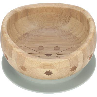 Bol ventouse en bois de bambou Little Chums chat  par Lässig