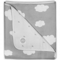Grande couverture en mousseline de nuage gris (120 x 120 cm)