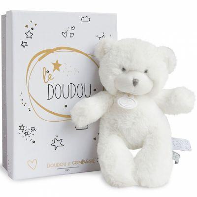 Peluche pantin ours blanc Le Doudou (20 cm) Doudou et Compagnie