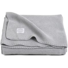 Couverture bébé en coton Basic knit gris clair (75 x 100 cm)