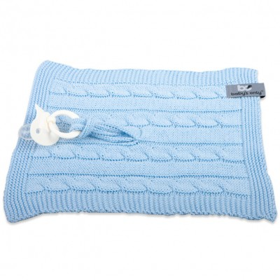 Attache sucette Cable Uni bleu ciel  par Baby's Only