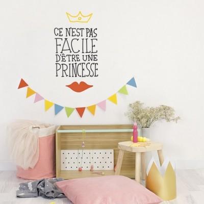 Stickers muraux Pas facile d'être une princesse Chispum