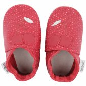 Chaussons bébé en cuir Soft soles Cerise rouges (15-21 mois) - Bobux