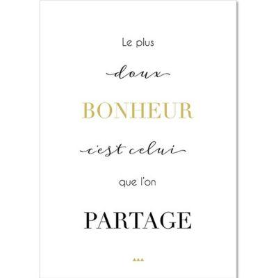Carte citation Bonheur (15 x 21 cm) Mes Mots Déco