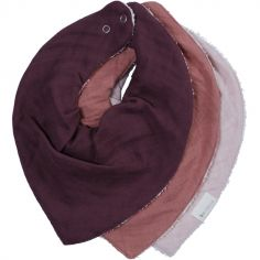 Lot de 3 bavoirs bandanas violet et rose Berry