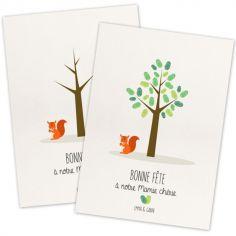 Kit mini arbre à empreintes écureuil personnalisable (A4)
