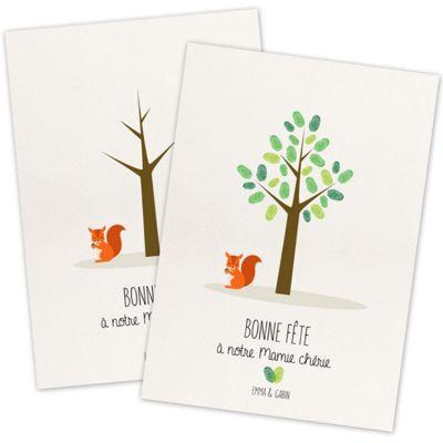 Kit mini arbre à empreintes écureuil personnalisable (A4) La Poupette à paillettes