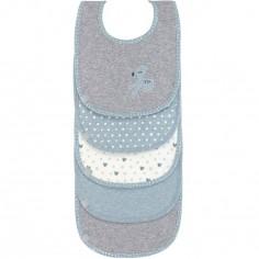 Lot 5 bavoirs en éponge coton Lela bleu clair