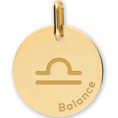 Médaille zodiaque Balance personnalisable (or jaune 375°)