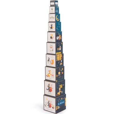 Cubes empilables Les Moustaches (10 cubes)  par Moulin Roty