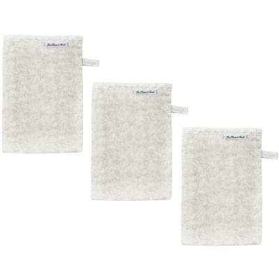 Lot de 3 gants de toilette en mousseline Grey Birds  par Les Rêves d'Anaïs