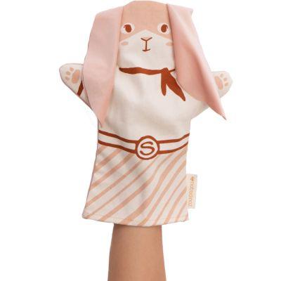 Marionnette à main lapin Bunny super-héros Nobodinoz