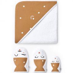 Cape de bain + 3 gants de toilette camel (90 x 90 cm)